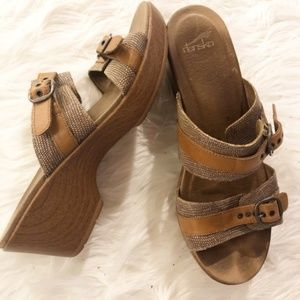 Women's Dansko Mule Clog Brown 2 Buckle Size 11